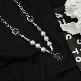 Black Sapphire Pearl Stainless Steel Chain