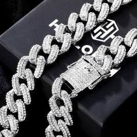 20mm Iced Miami Cuban Chain in White Gold