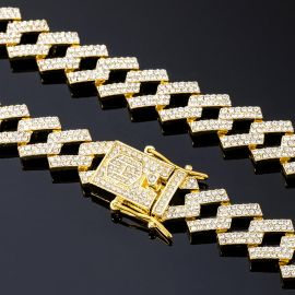 14mm Iced Prong Cuban Chain in Gold