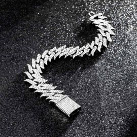 18mm Iced Spiked Cuban Bracelet in White Gold