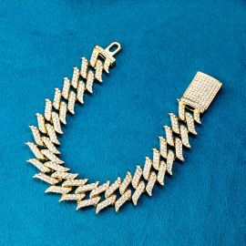 18mm Iced Spiked Cuban Bracelet in Gold