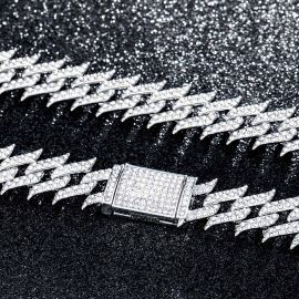18mm Iced Spiked Cuban Chain in White Gold