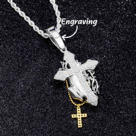 Iced Praying Hands Holding Cross Pendant