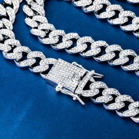 12mm Iced Miami Cuban Chain and Bracelet Set in White Gold
