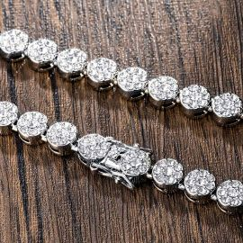 10mm Iced Round Flower Cluster Chain and Bracelet  Set in White Gold