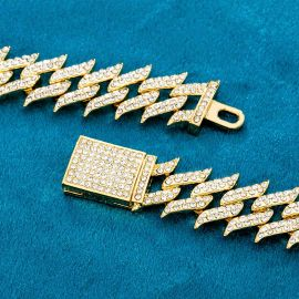 18mm Iced Spiked Cuban Chain and Bracelet Set in Gold