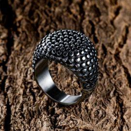 Retro Round Polka Dot Stainless Steel Ring