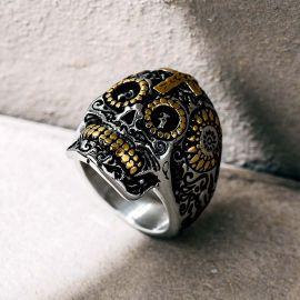 Vintage Cross Sugar Skull Stainless Steel Ring