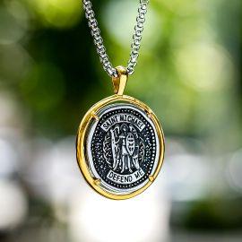 Archangel Saint Michel Coin Stainless Steel Pendant