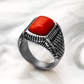 Red Stone Stainless Steel Ring