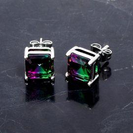 Square Multicolor Stone Stud Earrings