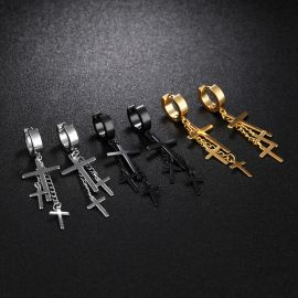 Triple Cross Dangle Earrings