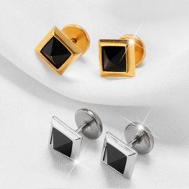 Square Black Stone Stud Earrings
