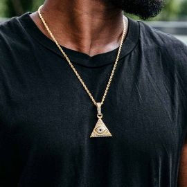 Iced Eye Of Providence Pendant in Gold