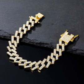 14mm Iced Prong Cuban Bracelet in Gold
