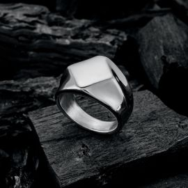 Flat-Top Signet Classy Stainless Steel Ring