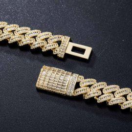 14mm Baguette & Round Cut Box Clasp Cuban Chain in Gold