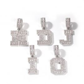 Baguette A to Z Initials Letters Pendants in White Gold