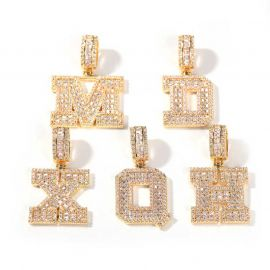 Baguette A to Z Initials Letters Pendants in Gold