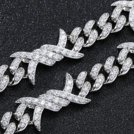 11mm Iced Barb Wire Cuban Chain in White Gold