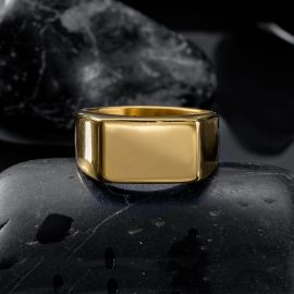 Retro Gold Rectangle Stainless Steel Ring
