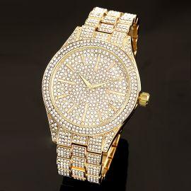 Fully Iced Round Bezel Men's Watch in Gold
