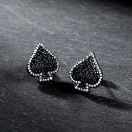 Iced Spades Earrings in Black Gold