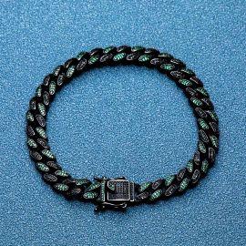 Iced 8mm Emerald & Black Stones Cuban Bracelet in Black Gold