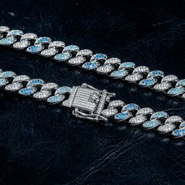 Iced 8mm Gradient Blue Cuban Chain and Bracelet Set in White Gold