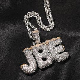 Iced Custom Christmas Letter Pendant in White Gold