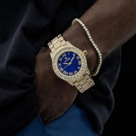 Iced Roman Numerals Watch and 3mm Tennis Bracelet Set in Gold