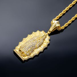 Iced Virgin Mary Pendant in Gold