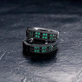 Iced Emerald & Black Stones Hoop Earring In Black Gold