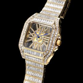 Full Baguette Cut Square Hollow Watch in Gold