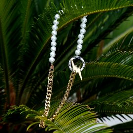 Lightning Toggle Clasp Cuban Pearl Necklace