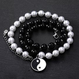 Yin Yang Black and White Pearl Necklace