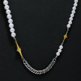 Iced Four-pointed Star Cuban Pearl Necklace