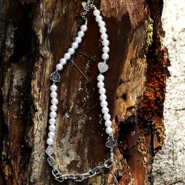 Iced Playing Card Suit Cable Pearl Necklace