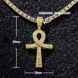 Iced Overlapping Ankh Pendant with Tennis Chain Set in Gold
