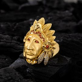 Native American Indian Chief Head Ring in Gold