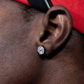 Hexagonal Stud Earrings in Black Gold