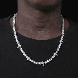 Iced Fight Tooth and Claw Tennis Chain in White Gold