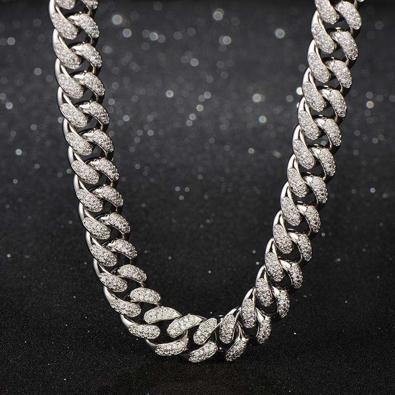 Iced 13mm Miami Cuban Link Chain in White Gold
