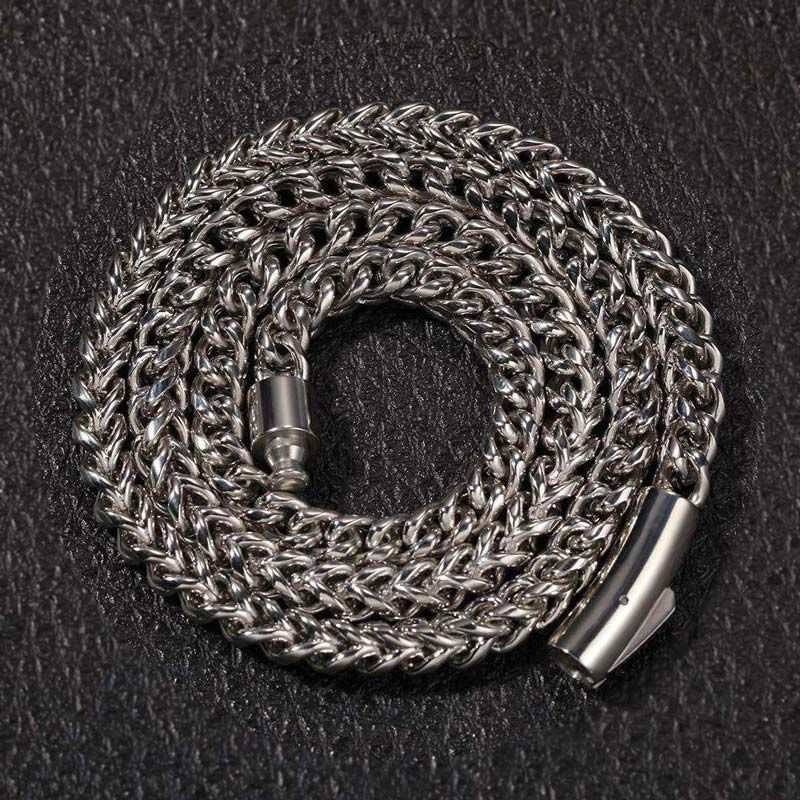 """8mm 24"""" 18K White Gold Franco Chain"""