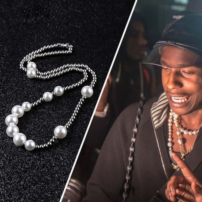 Pearl with Steel Ball Necklace