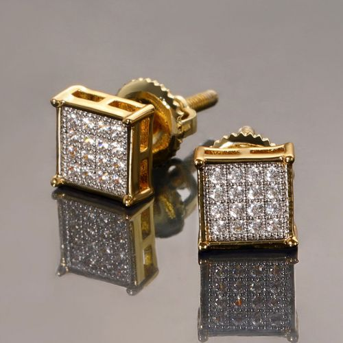 Square Diamonds Paved Stud Earrings-6*6mm