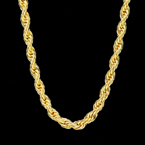 10mm 18K Gold Finish Rope Chain