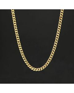 5mm Stainless Steel Cuban Chain in Gold