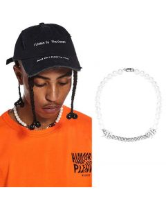 """Pearl and Steel Cuban Chain """"M"""" Necklace"""