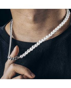 Half Pearl and Steel Cuban Chain Necklace